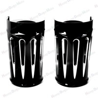 Black Deep Cut Upper Boot Slider Fork Covers For Harley Davidson Touring 2014 2016 Electra Glide