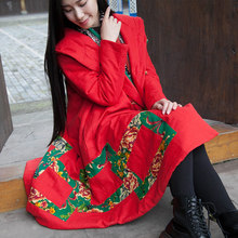 2016 new winter folk style cotton dress cotton blouse retro parquet warm loose cotton