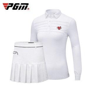 2019 PGM Autunno e di Inverno di trasporto Golf Abbigliamento donna Manica Lunga T-Shirt Da Golf Abbigliamento Traspirante Bianco Gonna Corta Per La Femmina