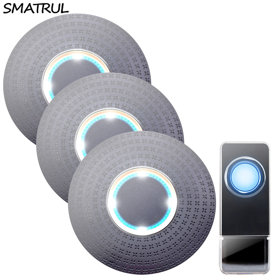 SMATRUL Waterproof Wireless Doorbell EU Plug 300M range home smart Door Bell ring call chime 1 button 3 receiver LED light Deaf wireless pager system 433 92mhz wireless restaurant table buzzer with monitor and watch receiver 3 display 42 call button