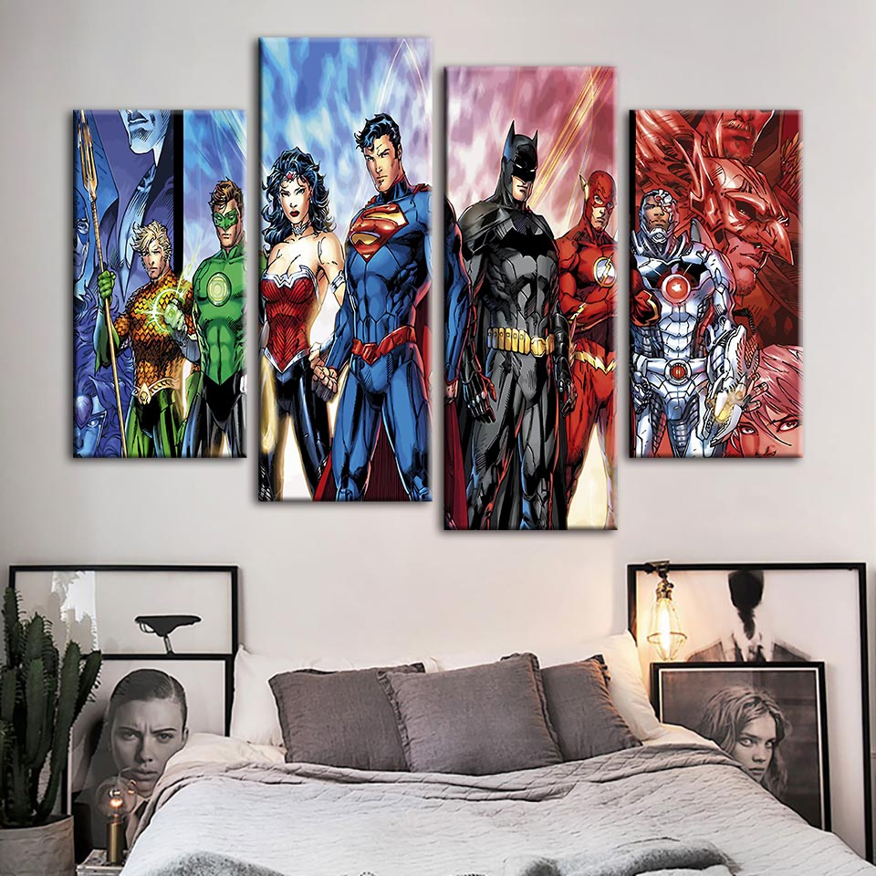 Canvas Painting Prints Wall Art Film Marvel Comics Modular Pictures The Avengers Poster Flash Man Home Decor Boys Room Framework in Painting Calligraphy from Home Garden