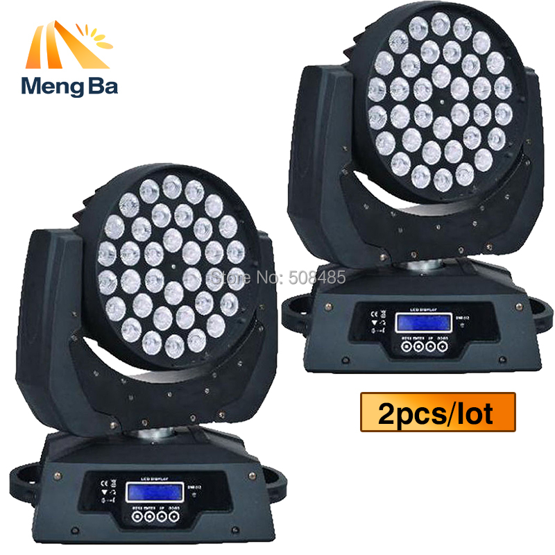 New 2pcs/Lot 36x10W 4IN1 Zoom Led Moving Head Light RGBW 4IN1 DMX512 Led Moving Head Wash Beam Effect Light stage lighting