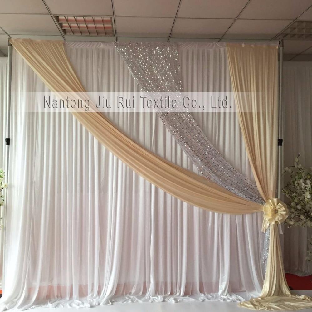3m Hx 3mW  Hot Sale  White Curtain With Cream Silver Sequin Drape  Wedding Backdrop
