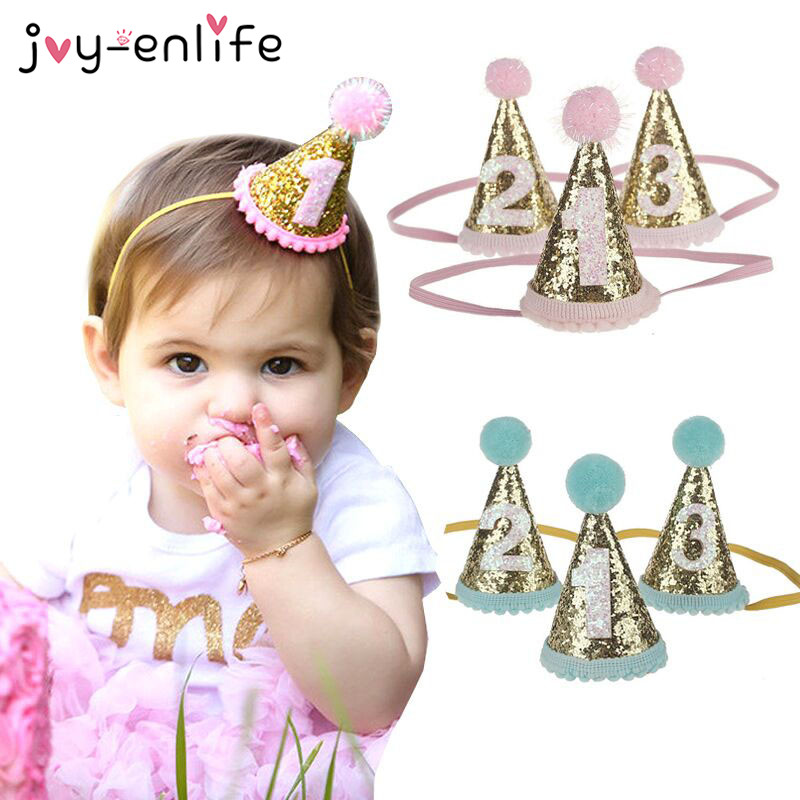 1pcs Birthday Crown Birthday Party Hats Dot With Hairball Cap Baby Shower Birthday Party Photo Props Children Party Decoration