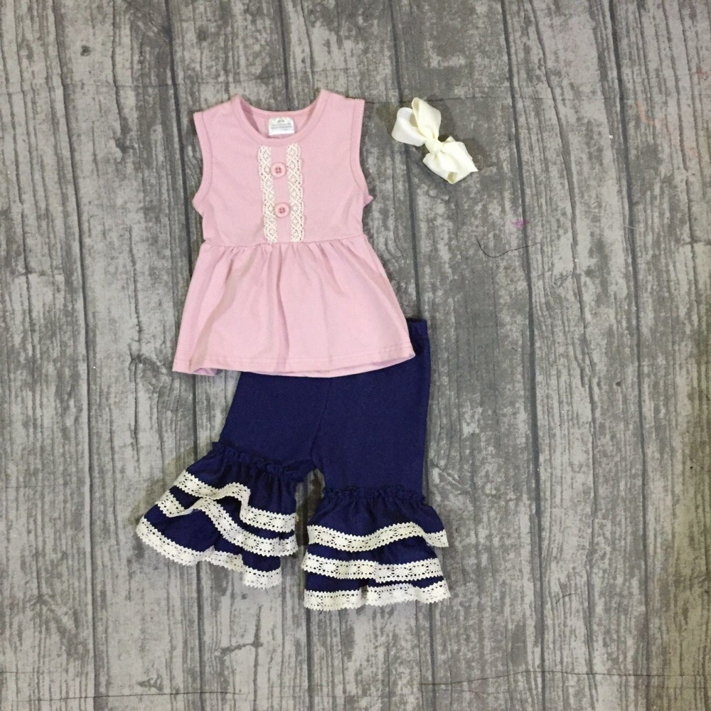 2018 Summer outfit pink navy sleeveless ruffle capri set boutique cotton children clothing 12m to 8t available match clip bow