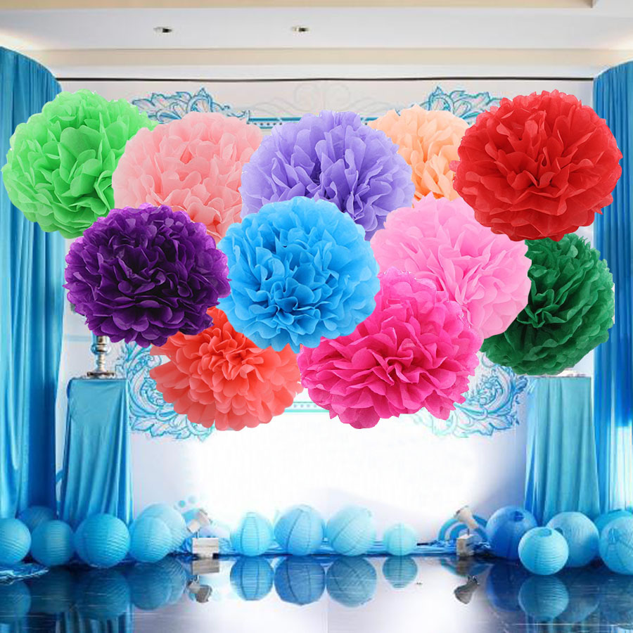 20cm Artificial Paper Flowers Kissing Ball Wedding Home Garden Birthday Party Baby Shower diy Decoration Tissue Paper Pom Poms