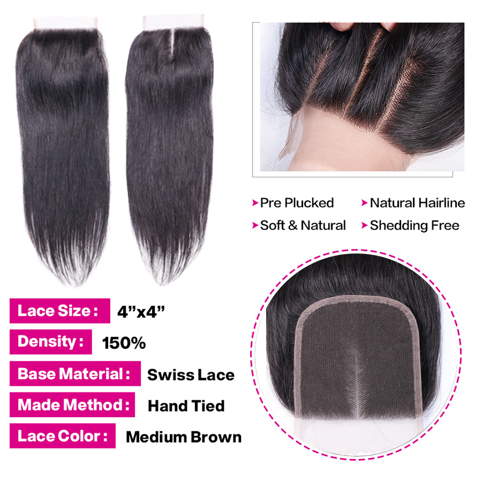 Human Hair 3 Bundles With Closure Brazilian Straight Hair Bundles - Menneskehår (sort) - Foto 4