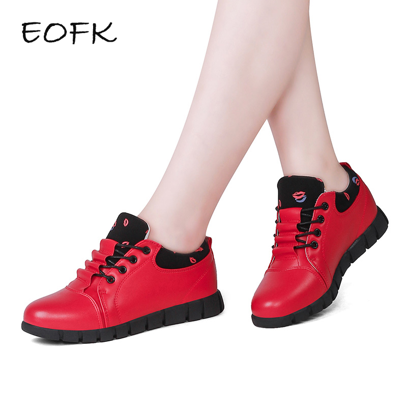 EOFK Spring Autumn Women Flats Leather Zapatillas mujer Casual Sneakers Shoes Woman Comfortable Lace Up Women