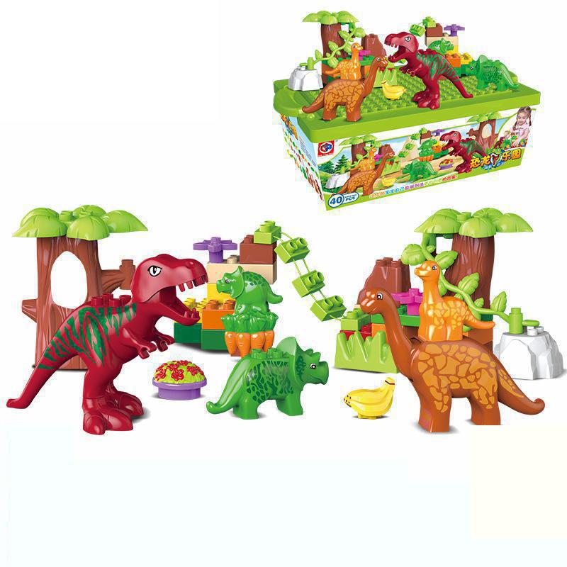 40pcs/set Dino Valley Building Blocks Large particles Dinosaur Paradise Animal Model toys Compatible Duploe