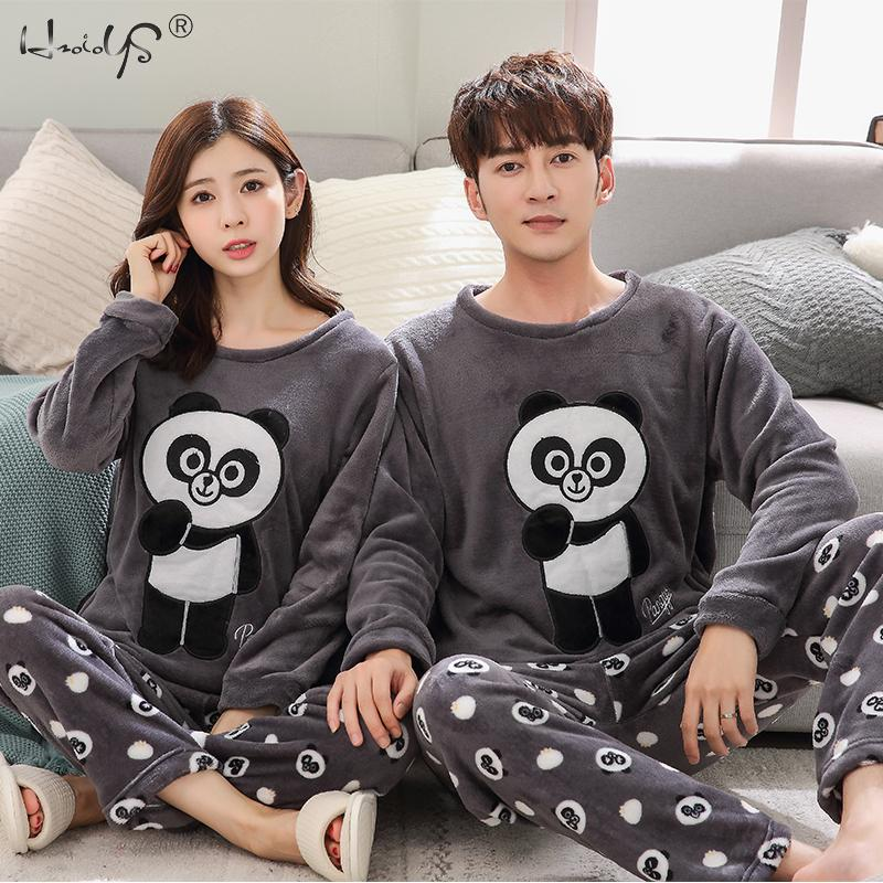 Women Winter Warm Pajamas For Unisex Couple Cartoon Pyjama Sets Animal Pyjama Suit Sleepwear Women/Men Home Clothing Pijamas