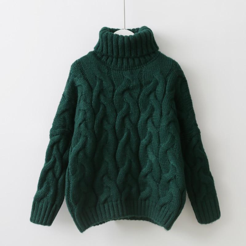 Winter Thicken Women Knitted Sweater Twist Turtleneck Knitting Pullover Green White Blue Brown Female Cashmere Sweater