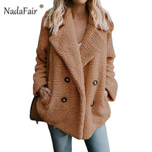 Nadafair plus size fleece faux fur jacket coat women winter pockets thicken teddy coat female plush overcoat casual outerwear
