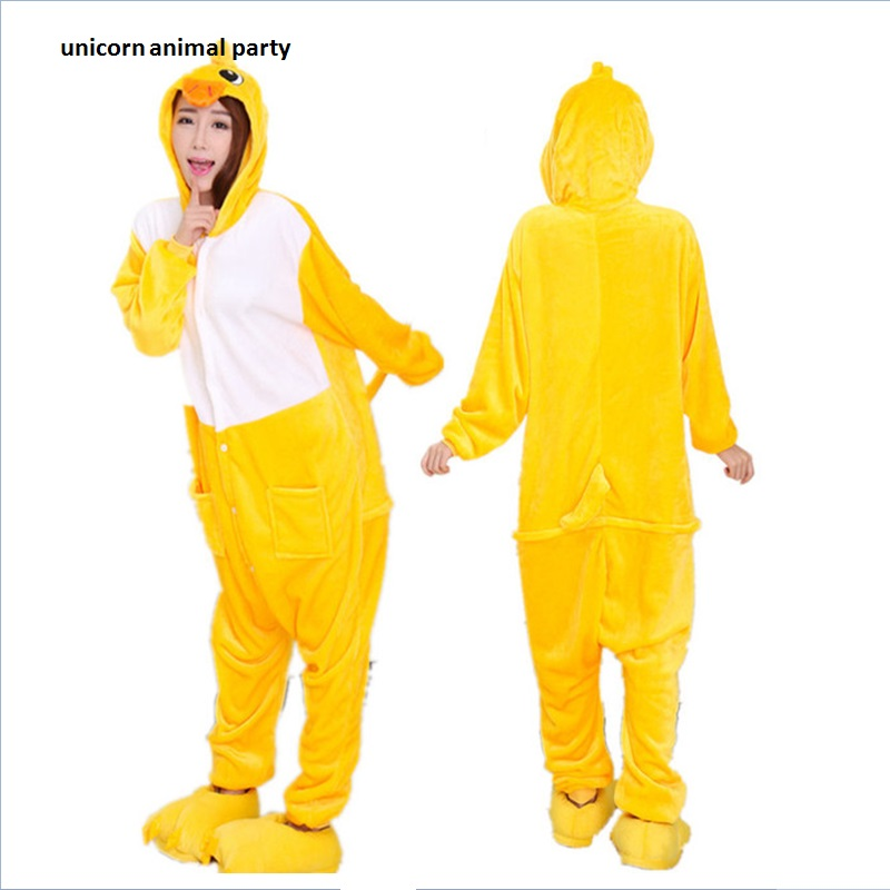 Kigurumi Anime Cartoon Sleepwear Homewear Para Halloween Navidad Unisex Animal Traje de Pato Amarillo Cosplay Onesie Adultos Pijamas