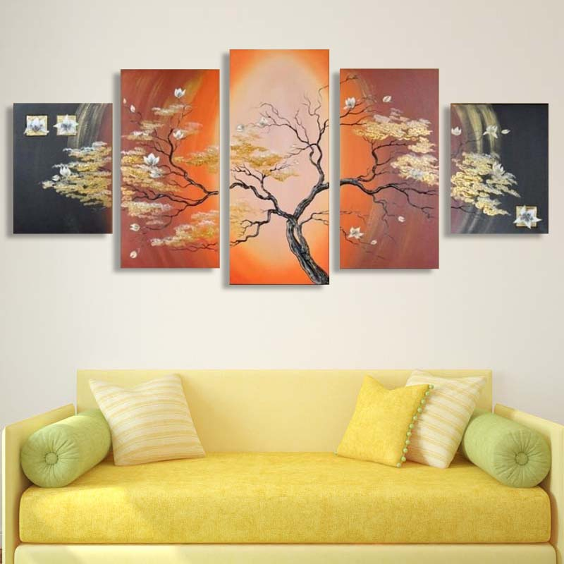 5p hand painted pictures wall art home decor Abstract tree oil ...