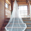 White/Ivory 2016 Wedding Veil 2 Layers Long Cathedral Length Lace Bridal Veil With Comb Wedding Accessories Cheap veu de noiva