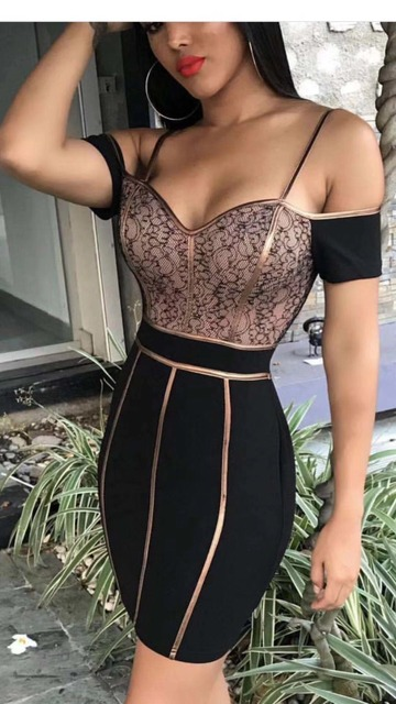 295d3f8af4 US $37.99 5% OFF|Aliexpress.com : Buy Wholesale New Sexy Bodycon Dress  Women Sheath Short Sleeve Strap Dresses Solid Black Gold Strip Bandage  Dress ...