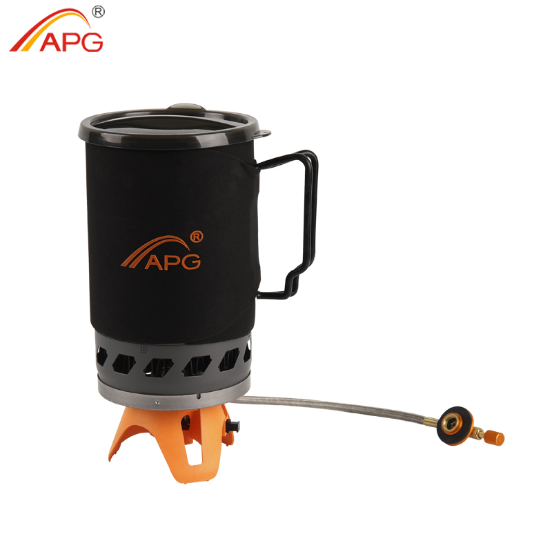 APG Portable 1400ml Cooking System Outdoor Camping Stove Heat Exchanger Pot Multi Cooking Function Gas Burners apg portable camping gas burners system and camping flueless gas stove cooking system