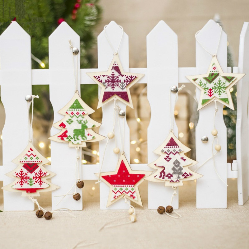 1pc Wooden Art Craft Christmas Pendant Christmas Tree Star Elk Bow Ornaments Christmas Decoration for Home Xmas Tree New Year 1