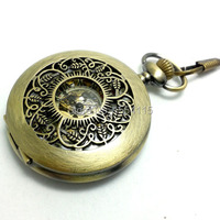 DHL Free Shipping Hot Sale Top Quality Bronze Hollowed Carved Real Unisex Mechanical Pocket Watch Flip