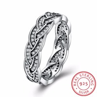 INALIS 2017 New promise rings 925 Sterling Silver eternity ring Sparkling Braided Crystal Ring For Women cz Wedding Jewelry