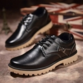 Winter men loafer warm PU leather dress shoe with fur waterproof oxford flat adult plus size black formal shoes lace up brown