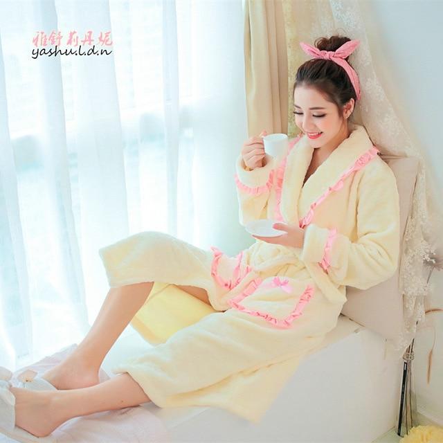 Корейский осенние и зимние модели взрыва Кружева Белье мечта резные толщиной фланель ночной рубашке оптовая халат