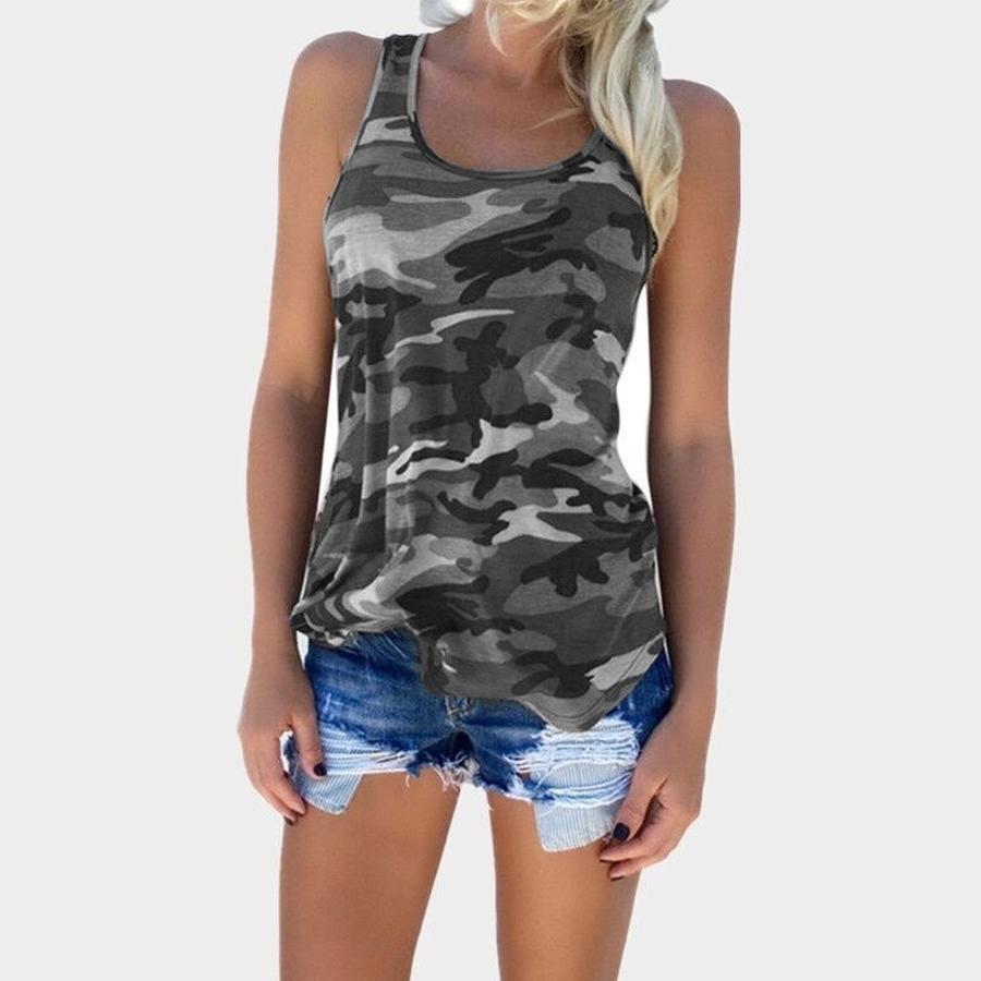 Casual Camouflage Vest T-Shirts Women Simple O-Neck Backless Sleeveless Tees Tops Female Sexy Wild Loose Tops For Lady Plus Size