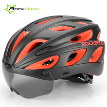 Rockbros Women Men EPS PC Cycling Helmet With Visor Goggle Integrally-molded Road MTB Bicycle Helmet Breathable Bike Helmet