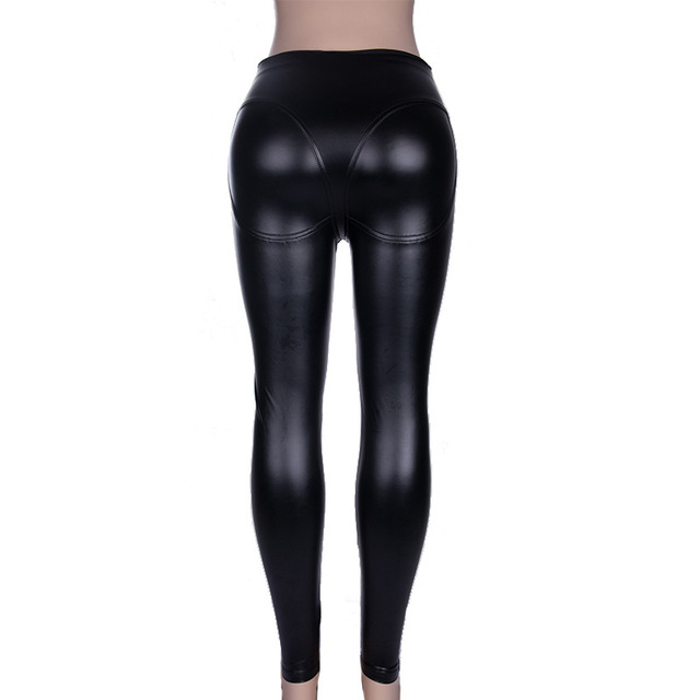 High Waist Gothic Black PU Leather Legging 8