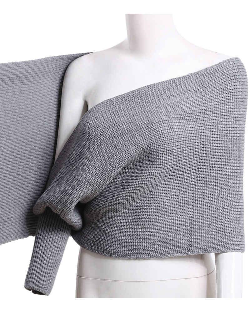 Novo Estilo Moda Hot EUA Estoque Moda Feminina Fora do ombro De Malha Capa Top Envoltório Xale
