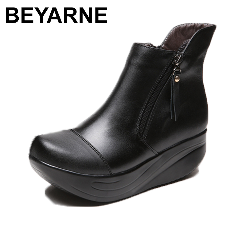 BEYARNE New Women Snow Boots Platform Genuine Leather Winter Women's Shoes Lace Up Fur Boots Black Warm Ankle Boots 2017 new fashion genuine leather snow boots female winter platform ankle boots women zipper lace up boots