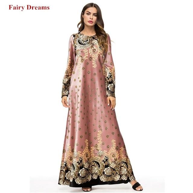 f6c0cefb02d28 US $28.56 49% OFF|Pink Velvet Abayas Women Muslim Dress Kaftan Turkish Arab  Dubai Islamic Plus Size Clothing 3XL Long Dresses Fashion Robe 2018-in ...