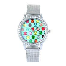 relojes mujer Top brand Women Watch Luxury Rhinestone Stainless Steel Watches Women Quartz Wristwatch Bear Clock Zegarek Damski top bracelet watch women reloj mujer luxury rhinestone quartz watches wristwatch clock relogio feminino saat gift zegarek damski