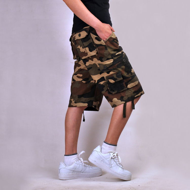 Multi-pocket Plus Camo Camouflage Military Army Combat Khaki Green Men's Cargo Shorts Blue Cotton Baggy Hip-pop