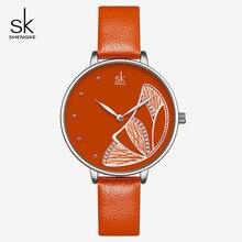 Shengke  Luxury Brand Watches Women Fashion Leather Ladies Wrist Watch 2019 SK Gift Mujer Bayan Kol Saati Montre Feminino