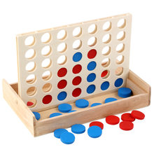 Newest Connect Blue Red Four In A Row 4 In A Line Board Funny Family Parties Classic Bingo Games Wood Entertainment Travel Games(China)
