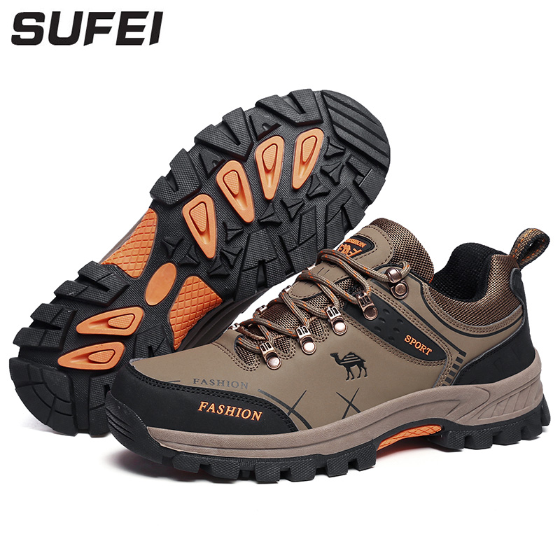 sufei Men Breathable Hiking Shoes Waterproof Shoes Outdoor Climbing Trekking Hunting Sport Sneakers