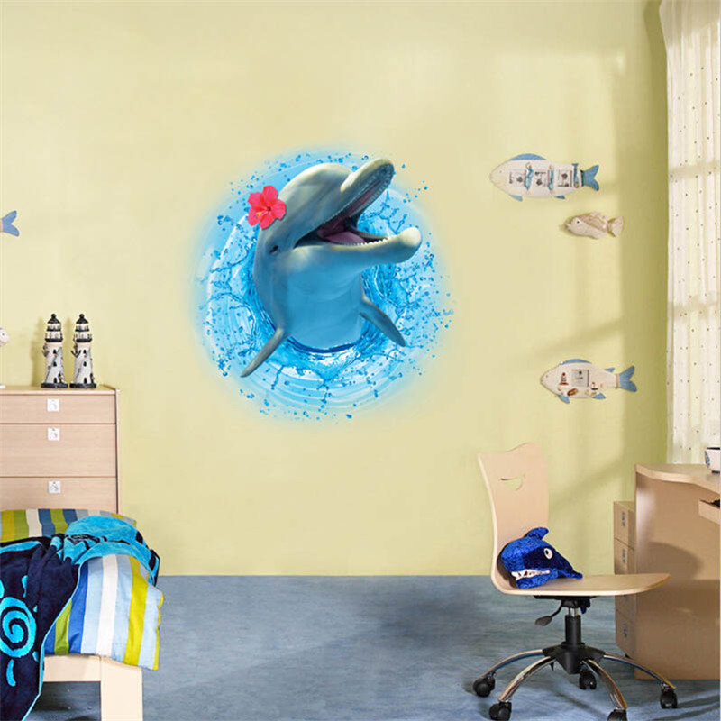 3D Dolphin Wall Sticker Seabed Wall Poster Removable Wall Decals ...