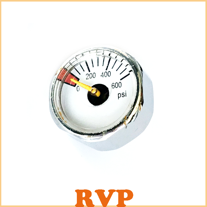 New PCP Paintball Gauge 1 Inch Mini Pressure Gauge 1/8NPT Back Connection 600PSI 1lot=2pcs  Free Shipping