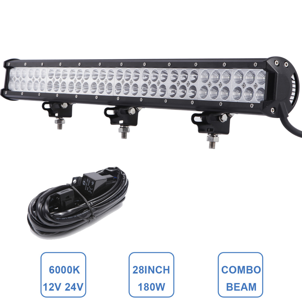 29'' 180W Offroad LED Light Bar 12V 24V Car Truck ATV Boat SUV 4WD 4X4 Trailer Tractor Camper Wagon Combo Driving Styling Lamp oslamp 52 300w spot flood combo beam offroad led light bar 12v 4x4 truck trailer tractor camper tractor 24v suv vans wagon 4wd
