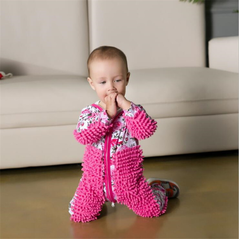 Baby Mop Footsies Clothes Lala Jersey Long Sleeve Crawling Clothes Jumpsuit One-Piece Suit Cotton Infant Cleaning Mop Suit