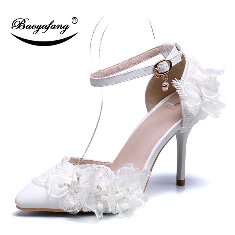 BaoYaFang 2019 Summer Woman Ankle strap shoes White Lace Flower shoe Pointed Toe Bride Wedding shoes patay dress shoes woman