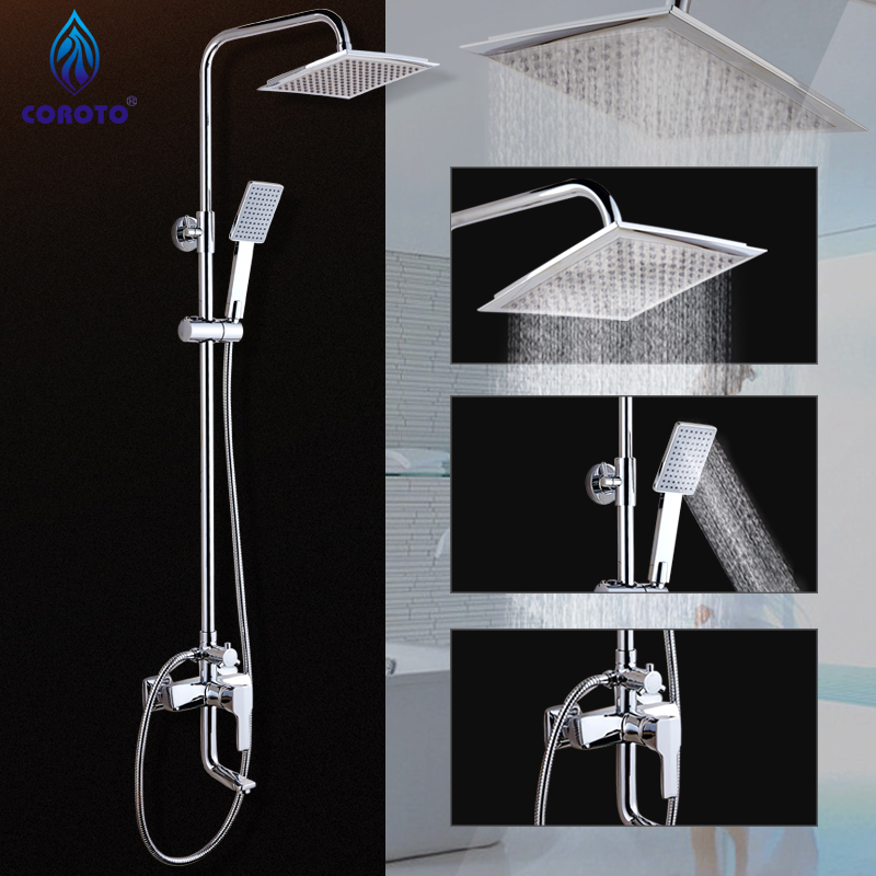 Brass Shower Faucet Rain Shower Head+Tub Faucet + Hand Shower with ...