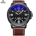 SKONE Brand Fashion PU Leather Strap Watches for Men Luminous Hands Wristwatches with Complete Calendar Display Quartz Watches