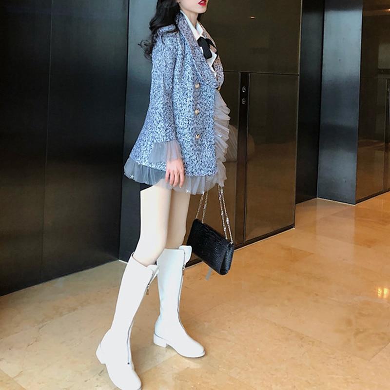 2019 New Designer Vintage Women's Jacket Blazer Double Breasted Female Jacket Coat Mesh Long Sleeve Tweed Blazer Women Outerwear