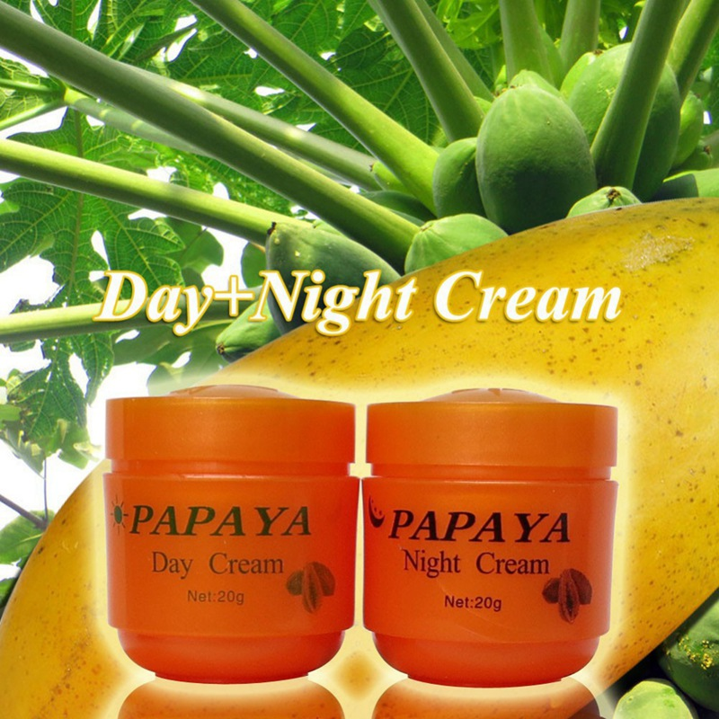 2Pcs/Set 20g Day Cream + 20g Night Cream Papaya Whitening Face Cream For Anti Freckle Improve Dark Skin Refreshing Skin