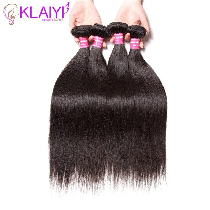 KLAIYI Hair Peruvian Straight Hair Bundles 4 PCS Remy Hair Free Shipping Natural Black Color 100% Human Hair Weave 8-30inch