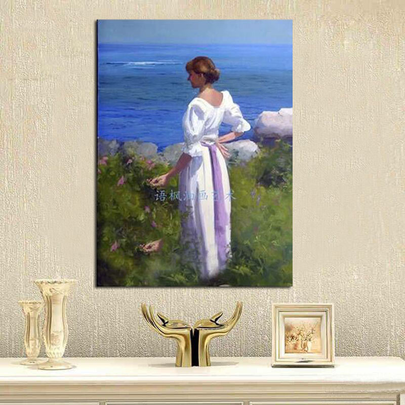 Hand paint portrait oil painting on canvas landscape oil painting lady decorative wall pictures home decoration ready to hang in Painting Calligraphy from Home Garden