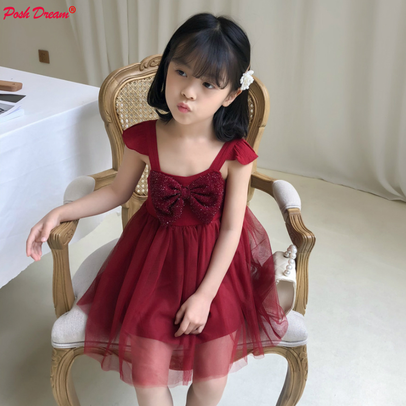 POSH DREAM Vintage Burgundy Children Summer Party Dresses New Fashion Butterfly-knot Children Girls Clothes Princess Tutu DressPOSH DREAM Vintage Burgundy Children Summer Party Dresses New Fashion Butterfly-knot Children Girls Clothes Princess Tutu Dress