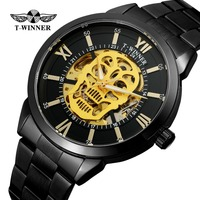 T Winner Men's High Quality Automatic Self wind Skeleton Analogue Steampunk Watch Clock with Stainless Steel Bracelet WRG8141M4